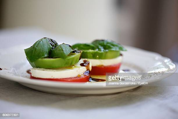 Close-Up Of Caprese Salad In Plate