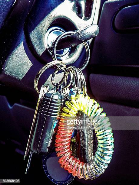 Close-Up Of Car Key In Ignition