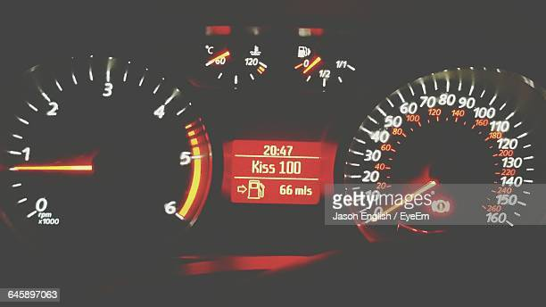 Close-Up Of Car Speedometer And Fuel Gauge