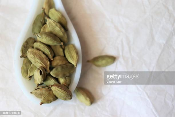 close-up of cardamom in a ceramic spoon against white background - garam masala stock photos and pictures