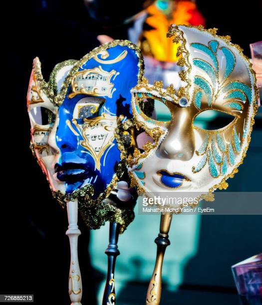 Close-Up Of Carnival Masks For Sale At Store