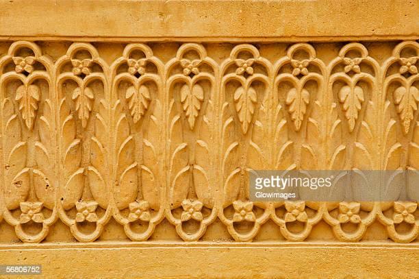 Close-up of carved wall, Rajmahal, Jaisalmer, Rajasthan, India