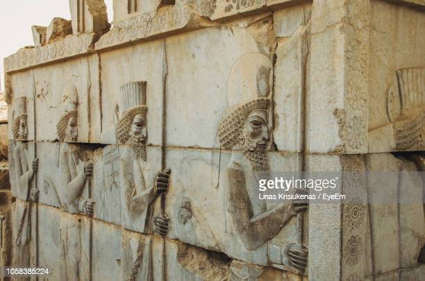 close-up of carvings on old ruins - tehran stock pictures, royalty-free photos & images