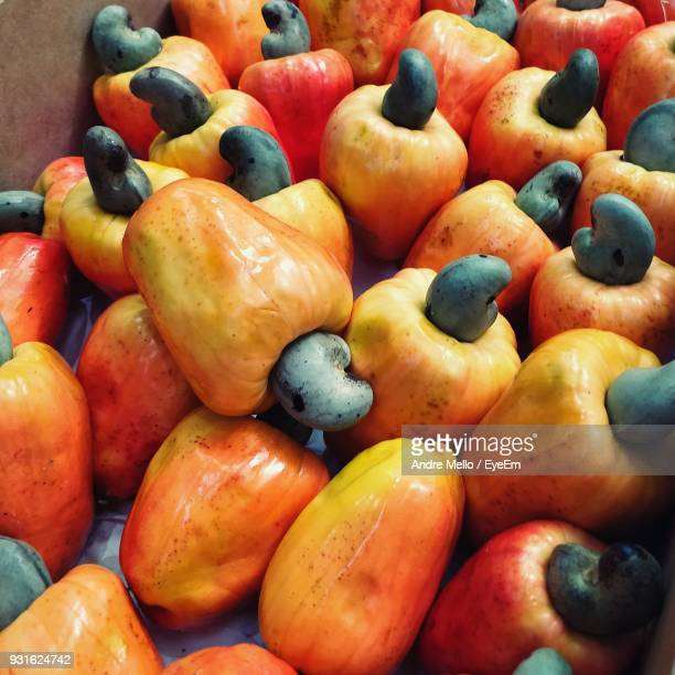 close-up of cashew fruits for sale at market - cashew stock pictures, royalty-free photos & images