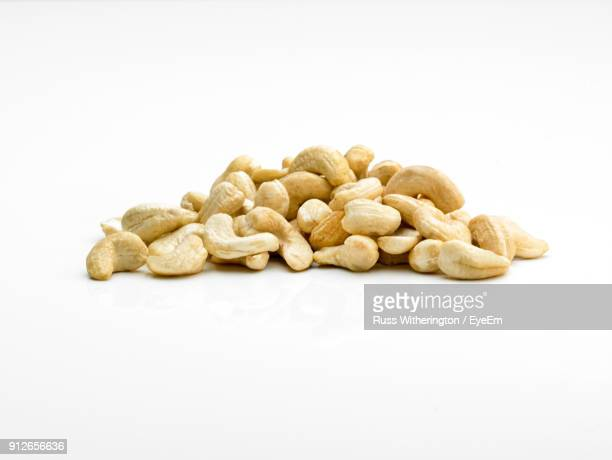 Close-Up Of Cashew On White Background