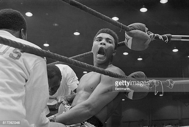 Closeup of Cassius Clay after defeating Sonny Liston for the Heavyweight Championship of the World.