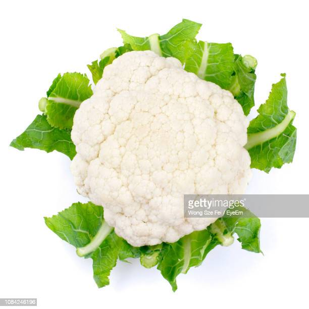 close-up of cauliflower against white background - cauliflower stock pictures, royalty-free photos & images