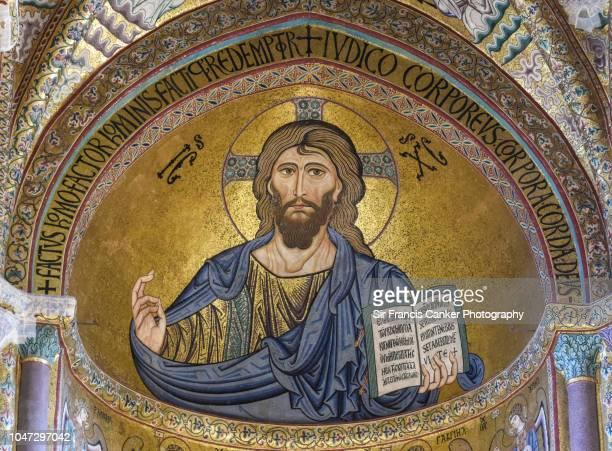 close-up of cefalu cathedral with prominent christ pantocrator mosaic in the apse in cefalu, sicily, italy - jesus christ photos et images de collection
