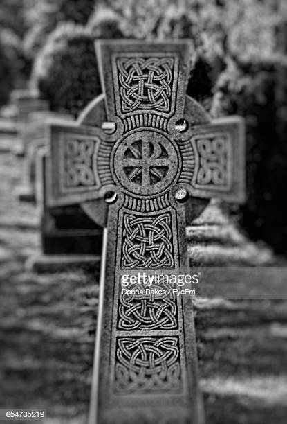 Close-Up Of Celtic Cross At Cemetery