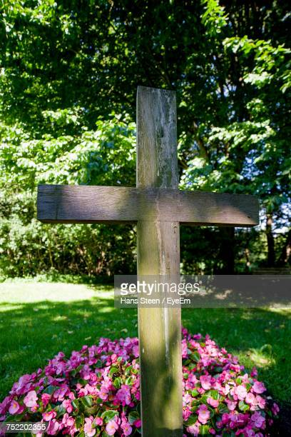 close-up of cemetery - crosses with flowers stock pictures, royalty-free photos & images