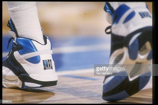 Closeup of Center Shaquille O''Neal of the Orlando Magic''s sneakers during a game against the Denver Nuggets at McNichols Arena in Denver Colorado...
