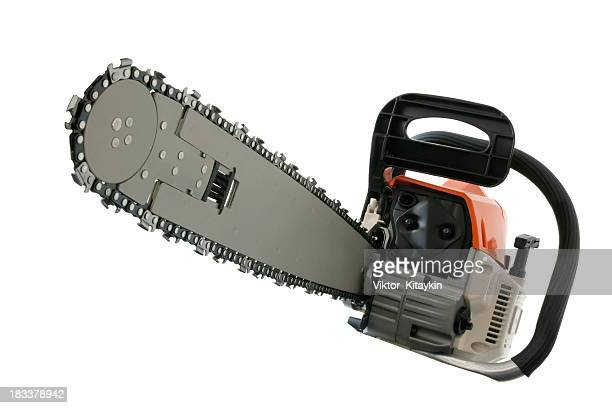 Close-up of chain saw isolated on white background