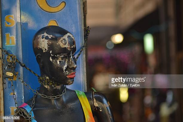 close-up of chained mannequin - iván zoltán stock pictures, royalty-free photos & images