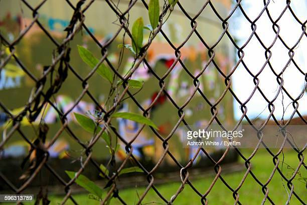 Close-Up Of Chainlink Fence, Graffiti On Wall In Background