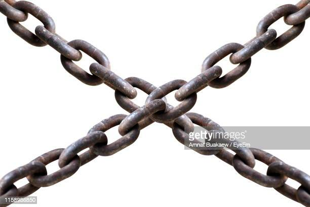 close-up of chains against white background - 鎖 ストックフォトと画像