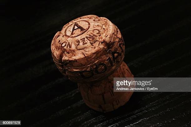 close-up of champagne cork in dark - cork material stock photos and pictures