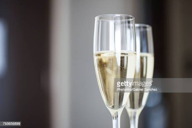 close-up of champagne in champagne flutes - anniversary stock pictures, royalty-free photos & images