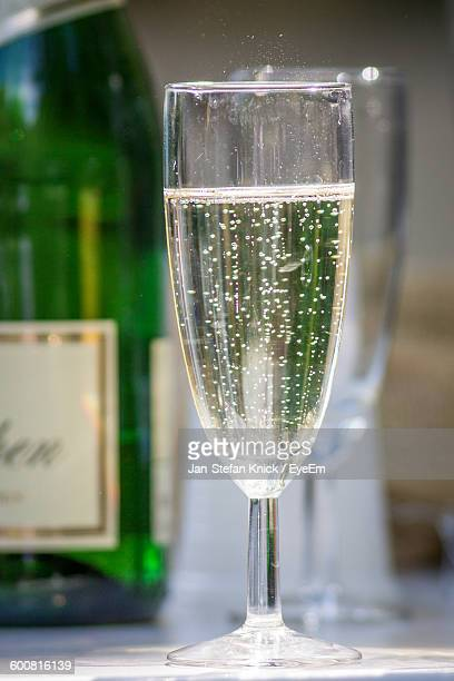 Close-Up Of Champagne Served On Table
