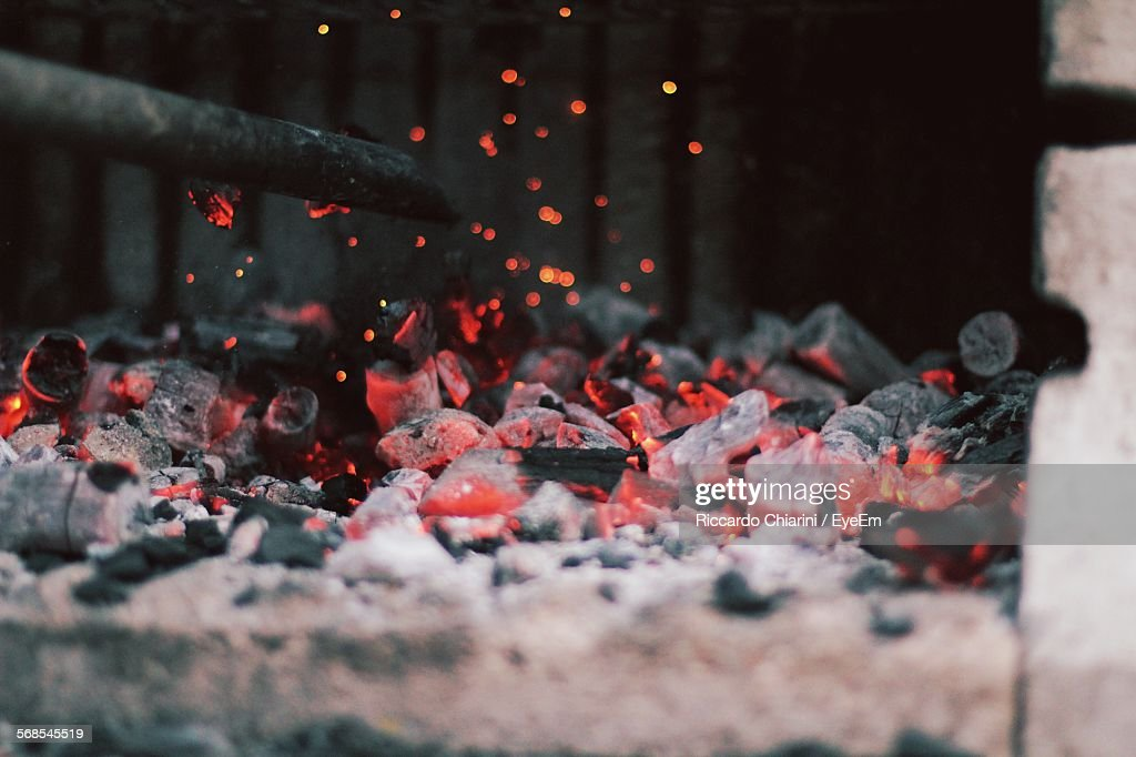 Close-Up Of Charcoal Fire : Stock Photo