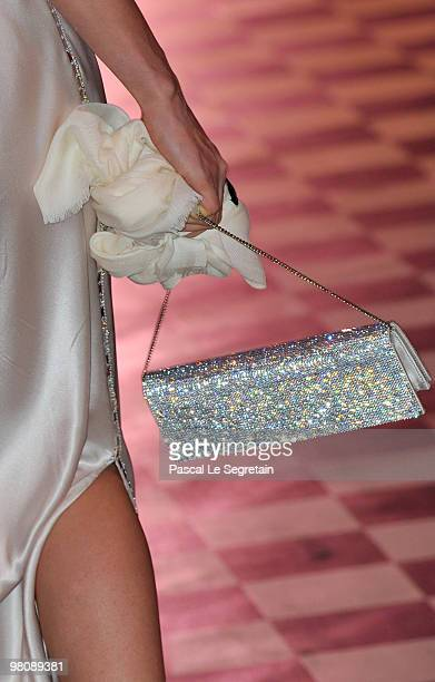 A closeup of Charlotte Casiraghi's purse as she arrives to attend the Monte Carlo Morocco Rose Ball 2010 held at the Sporting Monte Carlo on March 27...
