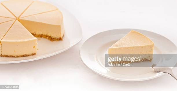 Close-Up Of Cheesecake On Table