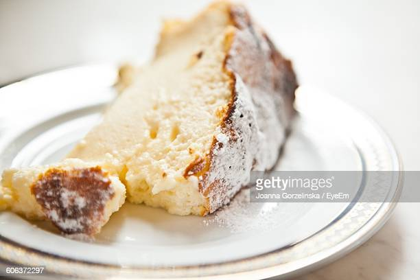Close-Up Of Cheesecake Slice In Plate