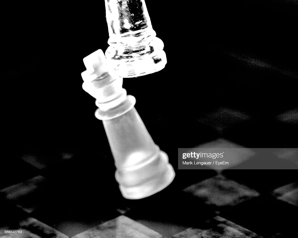 Close-Up Of Chess Pieces On Board : Stock Photo