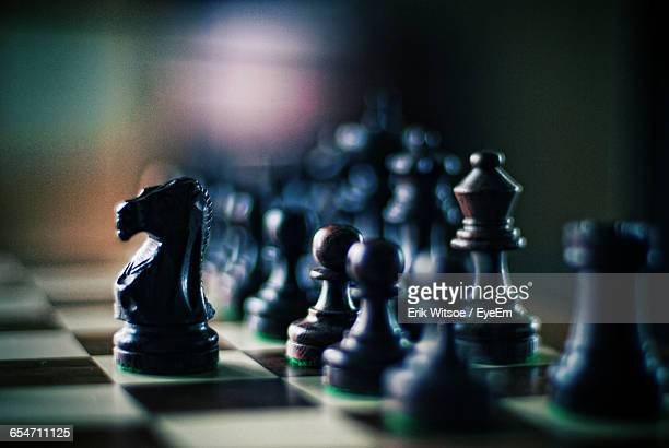 close-up of chess pieces on chess board - chess stock pictures, royalty-free photos & images