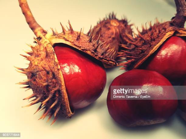 Close-Up Of Chestnuts On White Background