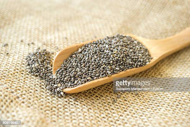 Close-Up Of Chia Seeds In Scoop