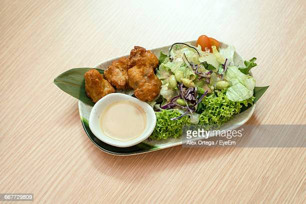 Close-Up Of Chicken Karaage Served In Plate