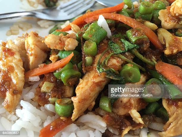 Close-Up Of Chicken With Rice