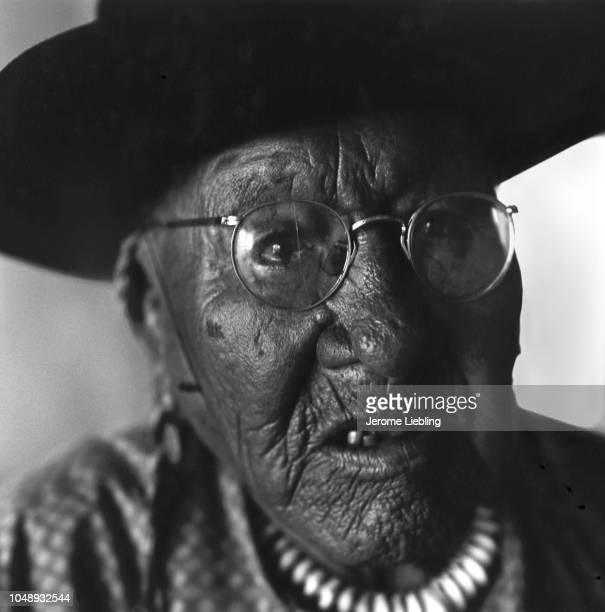 Closeup of Chief Running Bear tribal leader of the Blackfeet Nation on the Blackfeet Indian Reservation Browning Montana 1963 He wears a black cowboy...