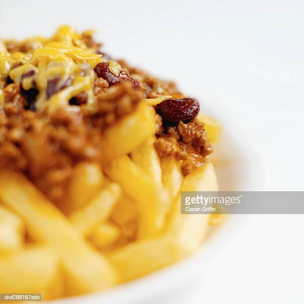 Close-up of chili cheese french-fries