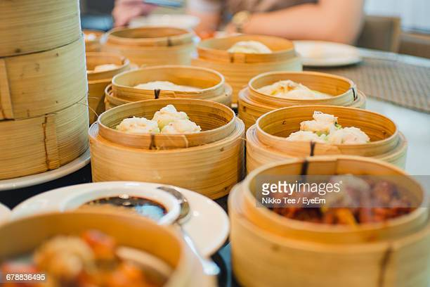 Close-Up Of Chinese Dumpling Dishes In Restaurant