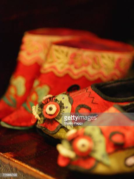 Close-up of Chinese foot binding shoes