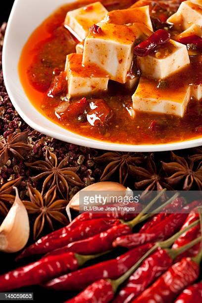 Close-up of Chinese Mapo Tofu