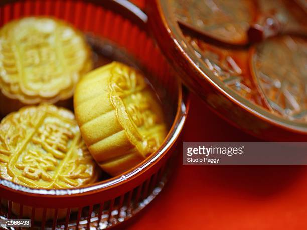 Close-up of Chinese moon cakes in a basket