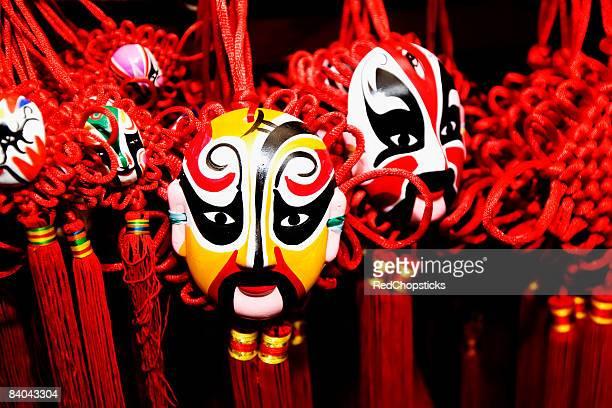 close-up of chinese opera masks, wangfujing, dongcheng district, beijing, china - beijing opera stock photos and pictures