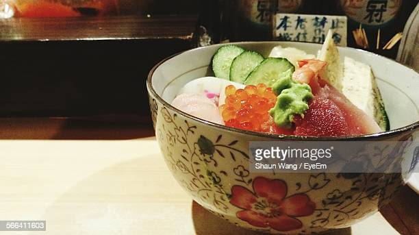 Close-Up Of Chirashi Served In Bowl