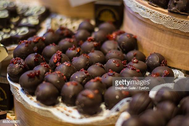 Close-Up Of Chocolate Balls Served In Plate At Table