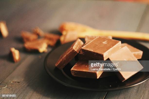 Close-Up Of Chocolate Bars In Plate On Table