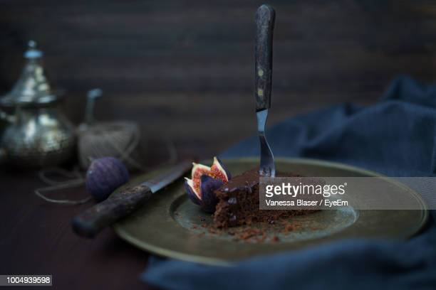 Close-Up Of Chocolate Cake In Plate On Table