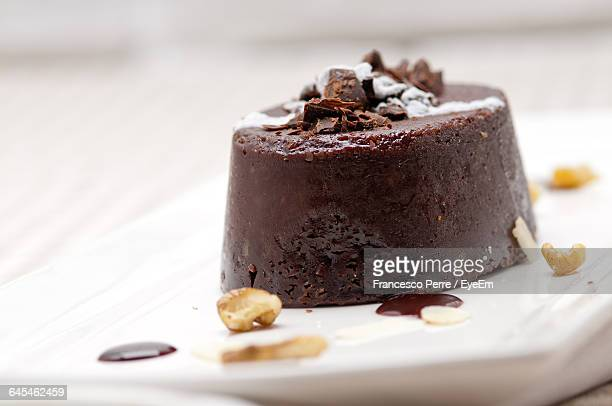 Close-Up Of Chocolate Cake Served In Plate