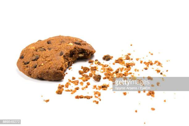 Close-Up Of Chocolate Chip Against White Background