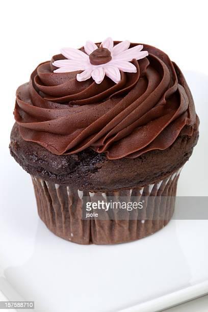 Closeup of chocolate cupcake