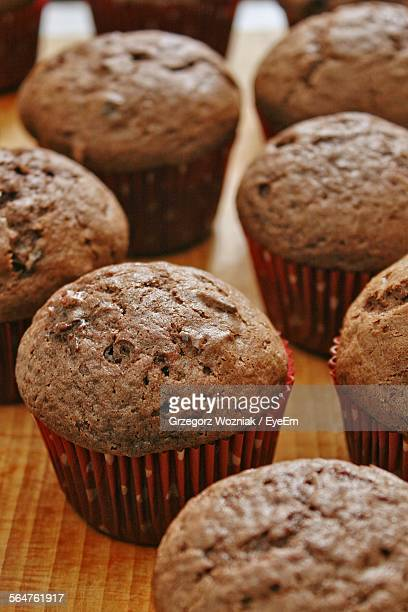 Close-Up Of Chocolate Cupcakes In Bakery Shop
