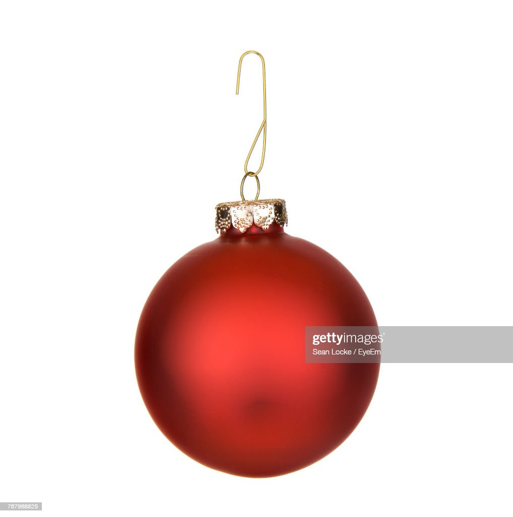Close-Up Of Christmas Decoration Hanging Over White Background : Stock Photo