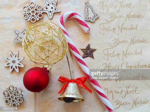 close-up of christmas decoration on table - petra bell stock-fotos und bilder