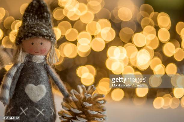 close-up of christmas decoration - dolly golden stock pictures, royalty-free photos & images